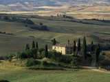 Farmhouse and Cypress Tres in the Earning Morning, San Quirico d'Orcia, Tuscany, Italy Photographic Print by Ruth Tomlinson