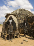 Ari Women Standing Outside House, Lower Omo Valley, Ethiopia, Africa Photographic Print by Jane Sweeney