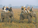 Safari on Elephant Back, Tourists in Kaziranga National Park, Assam State, India Photographic Print by Steve & Ann Toon