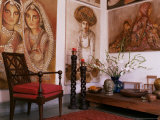 Paintings by Jaya Rastogi Wheaton, in Artist's House in Jaipur, Rajasthan State, India Photographic Print by John Henry Claude Wilson