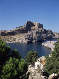 St. Pauls Bay Looking Towards Lindos Acropolis, Lindos, Rhodes, Dodecanese Islands, Greece Photographic Print by Tom Teegan