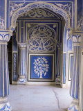 Stylized Foral Motif, Chalk Blue and White Painted Mahal, the City Palace, Jaipur, India Photographic Print by John Henry Claude Wilson