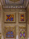 Painted Ceiling and Wall Detail, with Original Old Stained Glass Windows, Mehrangarh Fort Photographic Print by John Henry Claude Wilson
