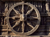 Carved Chariot Wheel, Sun Temple Dedicated to the Hindu Sun God Surya, Konarak, Orissa State Photographic Print by John Henry Claude Wilson