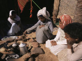 Brewing Coffee Outside a Bedouin Tent, Sinai, Egypt, North Africa, Africa Photographic Print by Nico Tondini