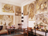 Paintings by Jaya Rastogi Wheaton, in Artist's House in Jaipur, India Photographic Print by John Henry Claude Wilson