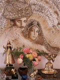 Painting by Jaya Rastogi Wheaton, in Artist's House in Jaipur, Rajasthan State, India Photographic Print by John Henry Claude Wilson