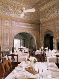 Dining Area with Exquisite Hand Painted Walls and Ceilings, Samode Haveli, Gangapol District Photographic Print by John Henry Claude Wilson