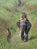 Game Guards Patrolling on Elephant Back, Kaziranga National Park, Assam State, India Photographic Print by Steve & Ann Toon
