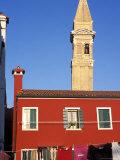 Leaning Campanile of San Martino Church, Burano, Venice, Veneto, Italy Photographic Print by Guy Thouvenin