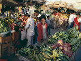 Fruit Including Bananas for Sale in the Market, Bhuj, Kutch District, Gujarat State, India Photographic Print by John Henry Claude Wilson