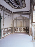 The Painted Walls of a Covered Verandah Which Surrounds One of the Fort Courtyards, Kuchaman, India Photographic Print by John Henry Claude Wilson