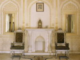 The Beautifully Gilded Durbar Hall, Sirohi Palace, Sirohi, Southern Rajasthan State, India Photographic Print by John Henry Claude Wilson