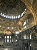 Interior of Santa Sofia (Hagia Sophia) (Aya Sofya), Unesco World Heritage Site, Istanbul, Turkey Photographic Print by Adam Woolfitt