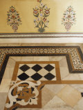 Detail of Marble Inlaid Floors and Painted Walls, Sirohi, India Photographic Print by John Henry Claude Wilson