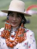 Portrait of a Tibetan Woman Wearing Jewellery Near Maqen, Qinghai Province, China Photographic Print by Occidor Ltd 
