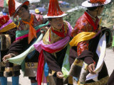 Tibetans Dressed for Religious Shaman's Ceremony, Tongren, Qinghai Province, China Photographic Print by Occidor Ltd