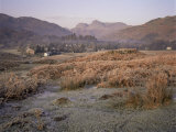 Langdale Pikes and Elterwater Village Under Heavy Frost, Lake District National Park, Cumbria, UK Photographic Print by Loraine Wilson