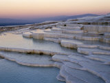 Pools at Sunset, Pamukkale, Unesco World Heritage Site, Anatolia, Turkey Lámina fotográfica por Adam Woolfitt