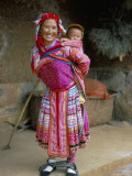 Portrait of a Miao Girl with Baby Carrier, Qiubei, Yunnan, China Photographic Print by Occidor Ltd