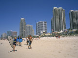 Beach, Central Shopping Mall and Restaurants, Surfers Paradise, Gold Coast, Queensland, Australia Photographic Print by Ken Wilson