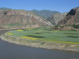 Rape and Barley Fields by the Yellow River at Lajia, Qinghai Province, China Photographic Print by  Occidor Ltd