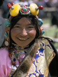 Young Woman Wearing Typical Amber Jewellery, Yushu Horse Fair, Qinghai Province, China Photographic Print by Occidor Ltd