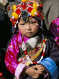 Little Girl Wearing Traditional Amber Jewellery at Yushu, Qinghai Province, China Photographic Print by Occidor Ltd
