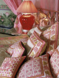 Cushions, the Shiv Niwas Palace Hotel, Udaipur, Rajasthan State, India Photographic Print by John Henry Claude Wilson