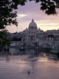 Skyline of St. Peter's from Ponte Umberto, Rome, Lazio, Italy Photographic Print by Adam Woolfitt