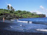Walanapanapa Black Sand Beach, Hana Coast, Maui, Hawaii, Hawaiian Islands, USA Photographic Print by Alison Wright