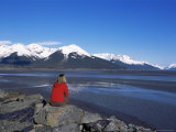 Woman Looking at Glaciers Along the Seward Highway, Girdwood, Alaska, USA Photographic Print by Alison Wright