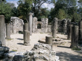 Archaeological Site with Fine Mosaic Floor Covered Up, Butrinti, Albania Photographic Print by  R H Productions