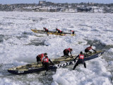 Ice Canoe Races on the St. Lawrence River During Winter Carnival, Quebec, Canada Photographic Print by Alison Wright