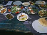 Food at the Haret Idoudna Restaurant, Madaba, Jordan, Middle East Photographic Print by Alison Wright