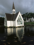 Church and Koi Pond, Wailea Beach, Maui, Hawaii, Hawaiian Islands, USA Photographic Print by Alison Wright