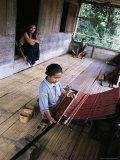 Ngada Woman Weaving Ikat Cloth, Bena Village, Flores, Indonesia, Southeast Asia Photographic Print by Alison Wright