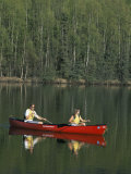 Man and Woman Canoeing in Mirror Lake, Chugach Mountains, Anchorage, Alaska, USA Photographic Print by Alison Wright