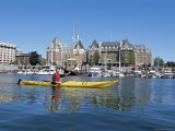Kayaking in the Harbor, Victoria, British Columbia, Canada Photographic Print by Alison Wright