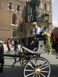 Horse and Carriage in Main Market Square, Old Town District, Krakow, Poland Photographic Print by  R H Productions