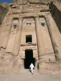 Bedouin Man Entering Urn Tomb, Petra, Unesco World Heritage Site, Jordan, Middle East Photographic Print by Alison Wright