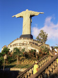 Christ the Redeemer Statue from Rear, Corcovado, Rio De Janeiro, Brazil, South America Photographic Print by  Upperhall