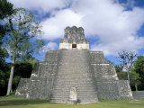Temple 2 from the Front, Mayan Site, Tikal, Unesco World Heritage Site, Guatemala, Central America Photographic Print by  Upperhall