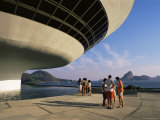 People Looking at View Across Bay to Rio from Museo De Arte Contemporanea Photographic Print by  Upperhall