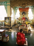 Monk Worshipping, Kuthodaw Pagoda, Mandalay, Myanmar (Burma) Photographic Print by  Upperhall