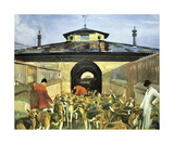 The Belvoir Hunt, Hunting Morning At The Kennels Premium Giclee Print by Sir Alfred Munnings