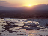 Travertine Terraces at Sunset, Pamukkale, Unesco World Heritage Site, Anatolia, Turkey Photographic Print by  R H Productions