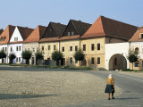 Woman in Ruthenia Town Square, Bardejov, Unesco World Heritage Site, Slovakia Photographic Print by  Upperhall