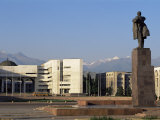 View of Lenin Square Looking Towards the Ala-Too Range of Mountains, Bishkek, Kyrgyzstan Photographic Print by  Upperhall