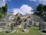 Stelae in Foreground, North Acropolis, Tikal, Guatemala, Central America Photographic Print by Upperhall